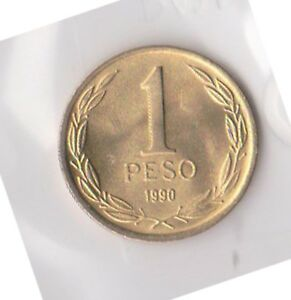 (H96-15) 1990 Chile 1 Peso coin (D)