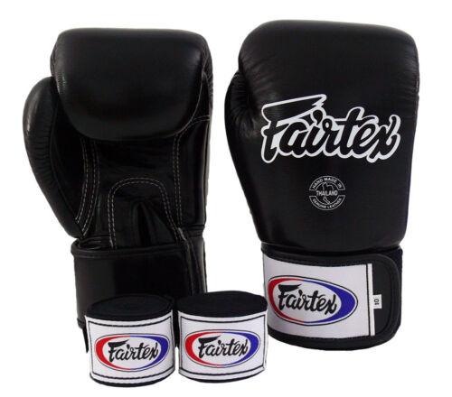 NEW Fairtex BGV1 Muay Thai MMA Training Sparring Boxing Gloves Black /& Handwraps