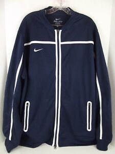 cdd47d7e4fb0 Nike Dri-Fit Athletic Track Jacket Running Jogging Navy Blue Workout ...