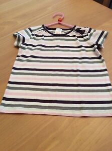 girls-clothes-3-4-years-White-Pink-Purple-Grey-Striped-Cotton-Short-Sleeved-Top