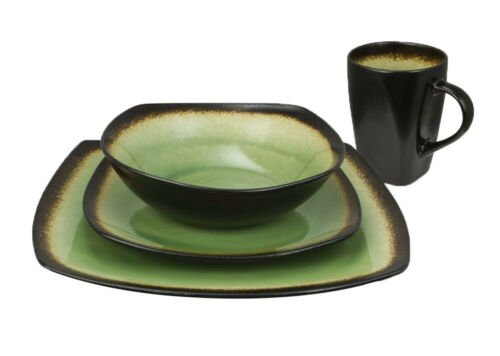 Curved edges Haus by Kalorik 16-Piece Brown and Lime Dinnerware Set