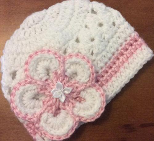 """Handmade Crochet Baby Girl Hat Newborn 0-3 months White 12"""" X 5"""""""