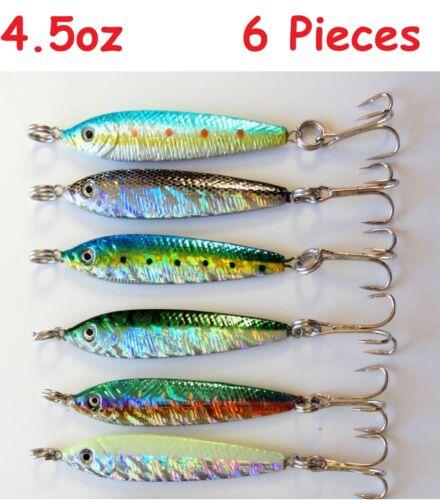 6 pieces 4.5 oz environ 127.57 g 6 Couleurs Mega Appâts Vivants métal Jigs Saltwater pêche leurres