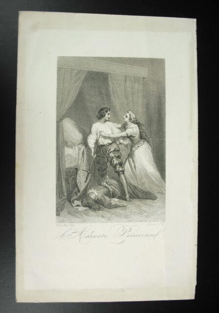 Engraving XIX ° the Adroit Princess Dessandre Del Lefrancq Writer