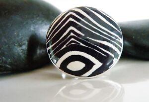 Designer-Nj-Sterling-Silver-925-Big-Circle-Enamel-Animal-Print-MOD-Ring-Size-7