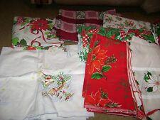 Christmas Linen Lot...Vintage/Tablecloths/Napkins...Over 40 Pieces