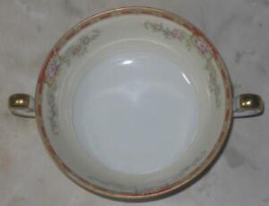 Royal-Chester-Cream-Soup-Bowl-Ogden-2-handled-vintage-gold-rim-pink-roses-red