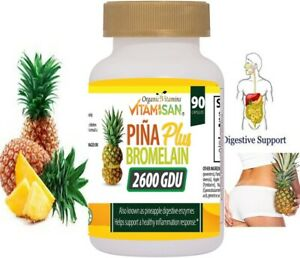 Ultra Strength Bromelain Pineapple Enzyme Bottle 2600g  90 Capsules Pills NoGMO