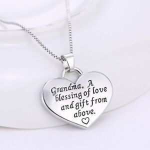 Silver-034-Grandma-034-Reversible-Heart-Pendant-Necklace-18-034-Mum-Mother-Mom-039-s-Day-Gift
