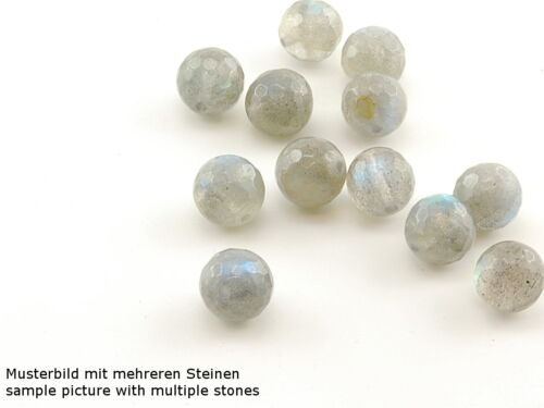 facettierte Kugeln grau //1662s 2x Labradorit 8 mm