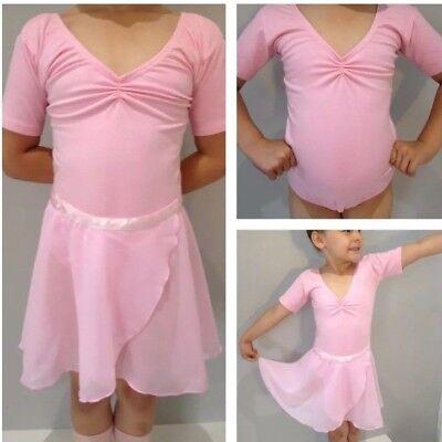Pink Ballet Leotard.Short Sleeve Dance Uniform.UK.Age3-4,5-6,7-8,9-10 Years