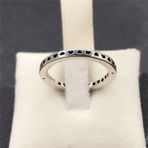 Size 8.5 Ring Signed SP Sterling Silver Cut Out Hearts
