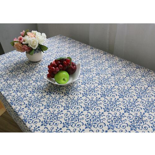 Retro Linen Cotton Table Cloth Cover Square Rectangle Tablecloth Lace Edge Decor