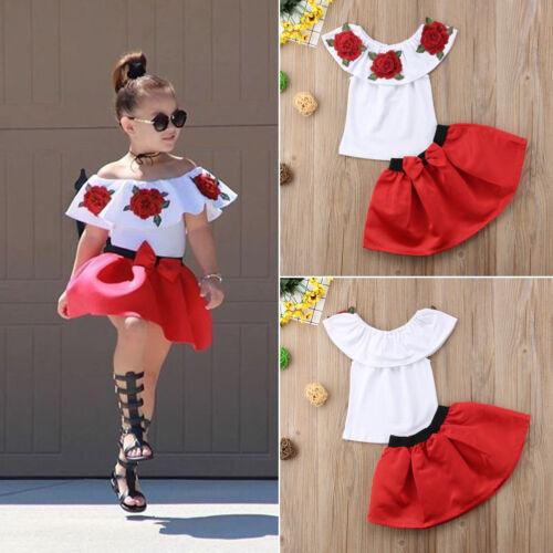 Summer Kids Girl Tutu Dress Skirt+Off Shoulder Casual Blouse Flower Tops Outwear