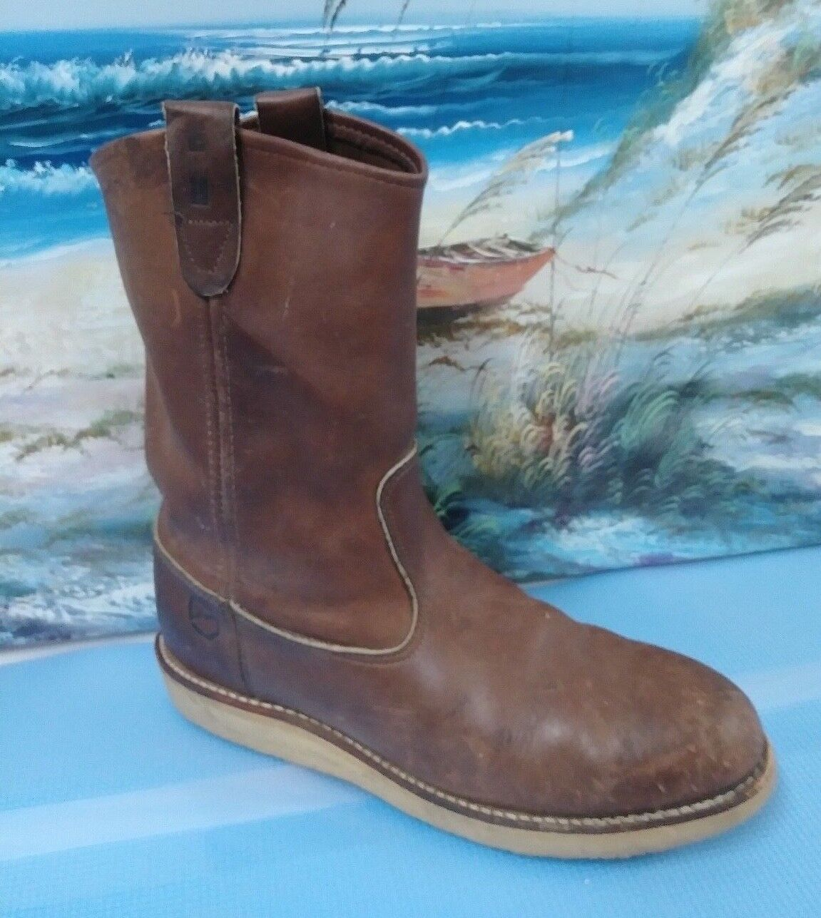 VTG MENS DOUBLE H COWBOY WORK LEATHER BROWN BOOTS SIZE 8 D STYLE 3112