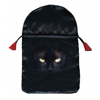 Black Cat Print Black Satin Tarot Card Bag NEW Drawstring Holds 2 standard decks