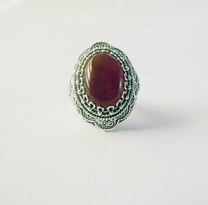 925-SILVER-amp-CARNELIAN-ARTISAN-CRAFTED-FILIGREE-RING-SIZE-10