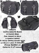 Borse Laterali Canvas Nero Moto Barilotto Omaggio Universali Café Racer Vintage