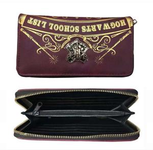 Harry Potter Hogwarts Magic School Badge Long Zippered Wallet New Card Bag Purse