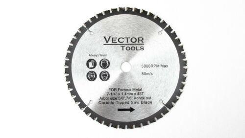 "7-1//4/"" 48 Teeth 5//8/"" 7//8/"" Arbor Metal Ferrous Cutting Carbide Tipped Saw Blade"