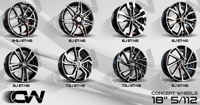 NEW 18 INCH 5/112 RIMS NOW AVAILABLE FOR MERC,AUDI ,VW CADDY,TOURAN AND GOLF 5/6/7 etc.