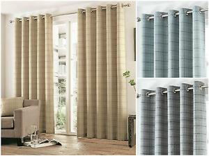 Braemar-Check-Tartan-Striped-Lined-Ready-Made-Eyelet-Curtain-Modern-Brushed-UK