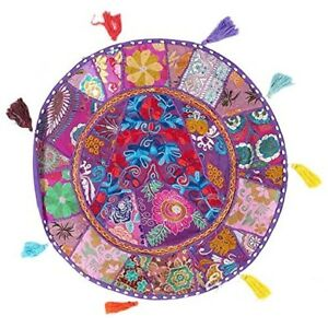 Indian-Floor-Mat-Meditation-Pillow-Patchwork-Embroidered-Round-Cushion-Cover