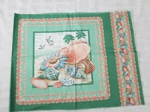 Two-vintage-sea-shell-pillow-fabric-panels-green-peach-cotton-18-034-x-23-034-each-New