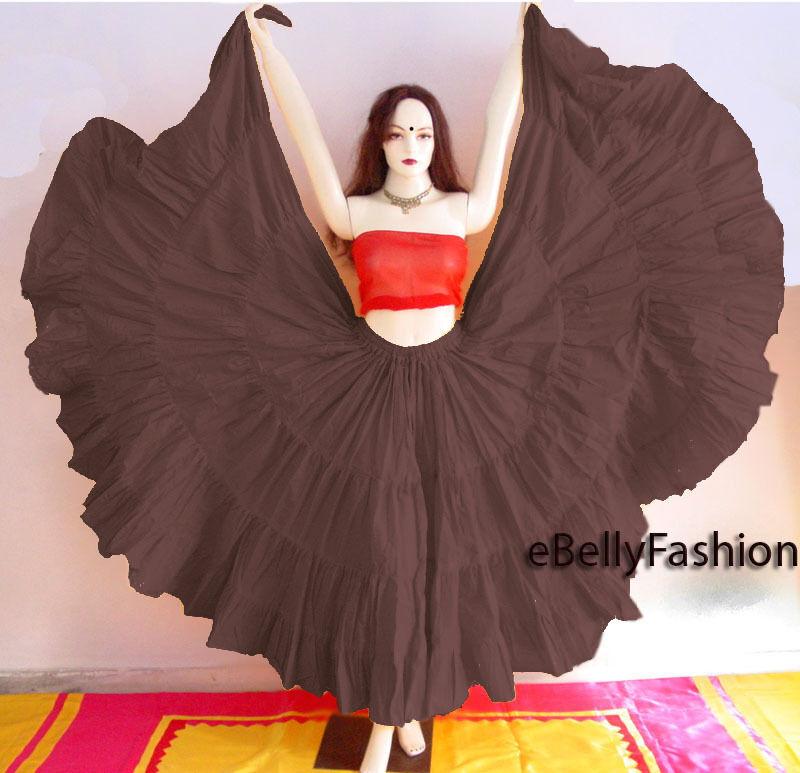 Coffee Cotton Gypsy Skirt 4 Tier 25 Yard Belly Dance Tribal Jupe Flamenco