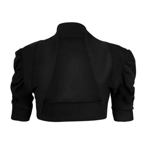 Ruched Short Sleeve Shrug Crop Top Cardigan Womens Size