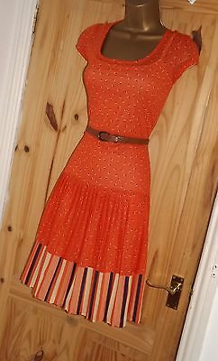 Orange vintage style retro 50s 60s 70s stretchy repro Mad Men tea dress size 12
