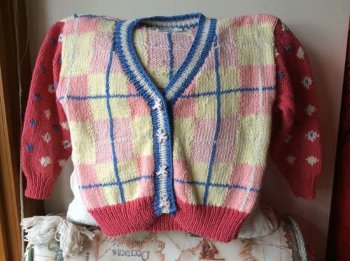 Girls Hand Knitted Cotton Cardigan Buttoned Jacket