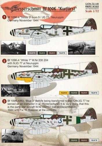 Imprimé échelle 1//72 Messerschmitt Bf.109K # 72146