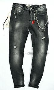 Hose Boyfriend Baggy Biker Damen Jeans Wiya Stretch Grau Kette P8n0wkXO