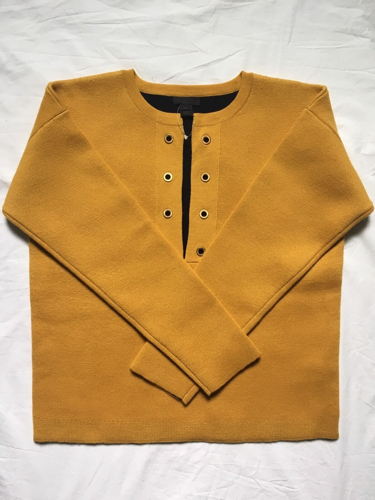 NEW J.CREW COLLECTION BONDED LACE-UP SWEATER, F5368, SZ XS, Yellow ,