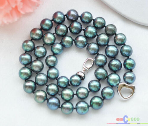 """P3779 AAA+ 17/"""" 10mm ROUND PEACOCK BLACK FRESHWATER PEARL NECKLACE"""