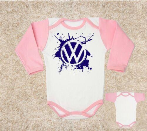 VW logo 1 BABY BODY PINK t-shirt kids baby clothing toddler 0-24 months
