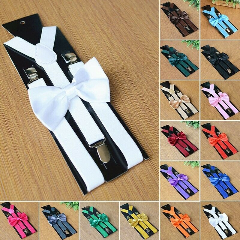 Men's Matching Suspenders Braces And Bow Tie Combo Sets Fancy Costume Durable