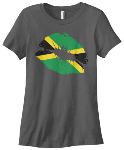 Threadrock Women/'s Jamaica Flag Lips Jamaican Kiss T-shirt Reggae