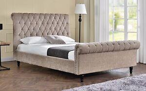 Image is loading Double-Sleigh-Bed-Upholstered-Fabric-Frame-Velvet-Chenille-