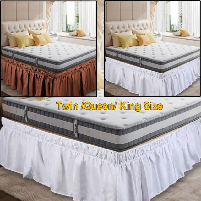 Base Valance Sheet Polyester Wrap, Queen Size Bed Skirt 15 Drop