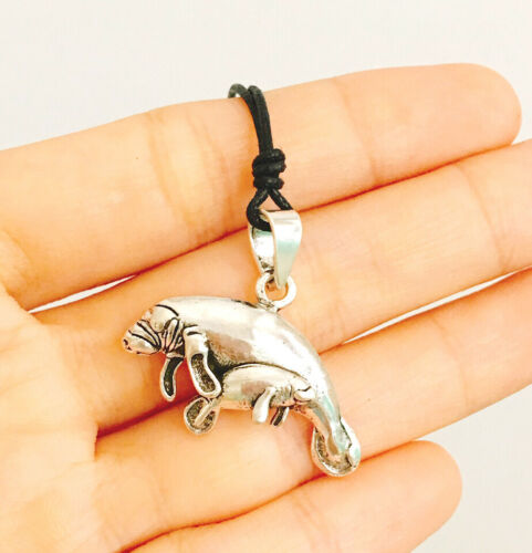 Manatee Sea Cow /& Baby 92.5 Sterling Silver Charm Necklace Pendant Jewelry
