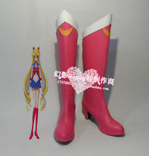 Sailor Moon Tsukino Usagi Pink Halloween Long Cosplay Shoes Boots H016