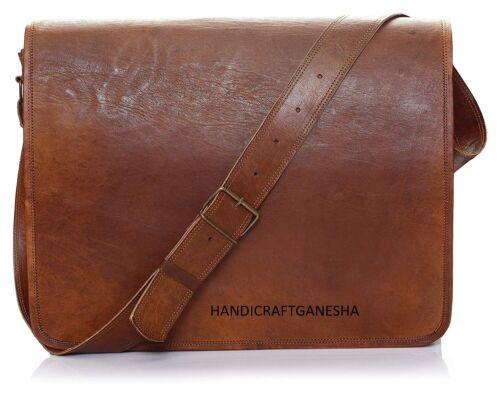 Men/'s Leather Messenger Shoulder Business Computer English Briefcase Laptop Bag