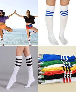a58aec291 Multi Color Football Soccer Knee High Tube Socks Men Women Cotton ...