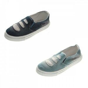 Details zu Damen Sneaker flach Jeans Optik Blau Slipper Halb Schuhe Stoff Ballerinas 36 41