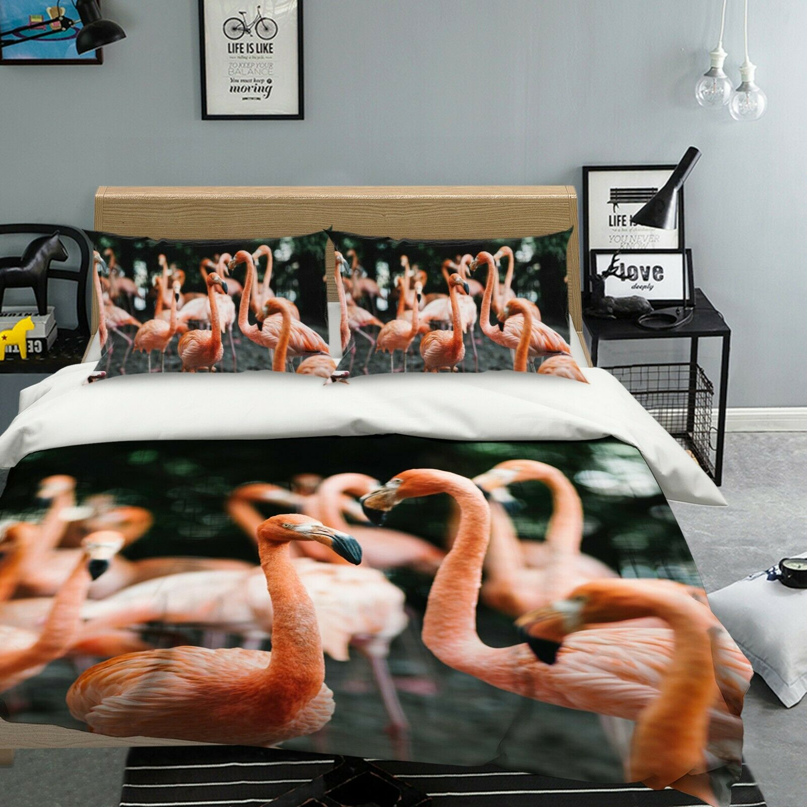 3D Hehu Lake I45 Animal Bed Pillowcases Quilt Duvet Cover Queen King Angelia