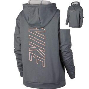 50c76b10eb5e Nike Therma Women s Swoosh Fleece Training Hoodie L XL Gray Pink New ...