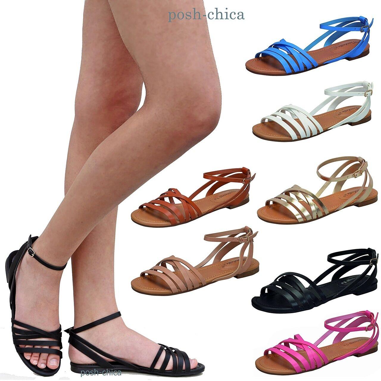 New Women Oin21 Black Tan Flat Beige Strappy Ankle Strap Flat Tan Sandals size 5.5-11 221ab3