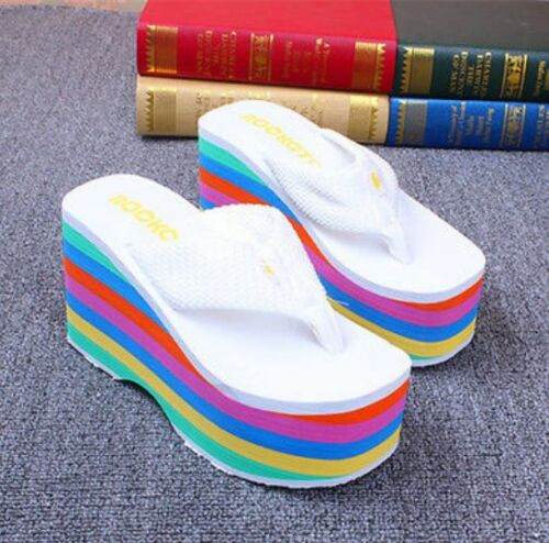 Women/'s Rainbow tongs talons compenses Talons Hauts Sandales Plage Chaussures Creepers D939